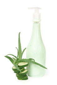 stock photo of aloe-vera  - Cream with aloe vera and cucumber extract on white background - JPG