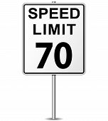 pic of mph  - illustration of seventy speed limit signpost concept - JPG
