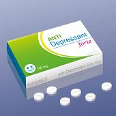 stock photo of antidepressant  - Pills named Anti Depressant forte with a smiling pill as the brand logo on the packet - JPG