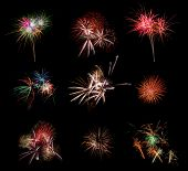 foto of firework display  - Beautiful firework set on black background - JPG
