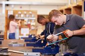 image of electrician  - College Students Training To Become Electricians - JPG