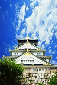 foto of shogun  - Osaka Castle Osaka city Japan in the summer [[** Note: Soft Focus at 100%, best at smaller sizes] ** Note: Visible grain at 100%, best at smaller sizes - JPG
