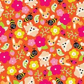 image of bumble bee  - Seamless colorful sheep blossom bumble bee and birds illustration spring background pattern in vector - JPG