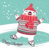image of polar bears  - Christmas card with cute polar bear on an ice rink - JPG