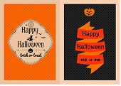 stock photo of happy halloween  - Vector illustration of colorful cartoon Happy Halloween greeting cards set decorated - JPG