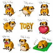 image of pooch  - Vector illustration of funny dog in different poses - JPG