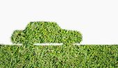 picture of fuel economy  - Green Car symbol from grass isolated on over white background - JPG
