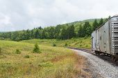 picture of railroad car  - Railroad car in the hills Spruce Knob - JPG