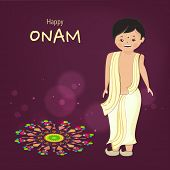 foto of onam festival  - Little cute boy wearing south indian dress and standing with very happyness for celebration of onam festival and beautiful colourful rangoli on dark purple background - JPG