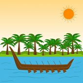 stock photo of onam festival  - South Indian festival Happy Onam celebrations with wooden snake boat in the river and coconut trees - JPG