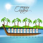 picture of tree snake  - Illustration of South Indian people taking part in Snake Boat Racing in at river with coconut trees on the sceneric view - JPG