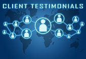 picture of reaction  - Client Testimonials concept on blue background with world map and social icons - JPG