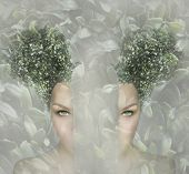 image of surreal  - Female artistic portrait divided in two parts surreal concept - JPG