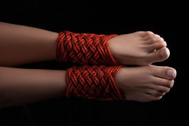 picture of sadism  - Shibari pattern on two legs female closeup - JPG
