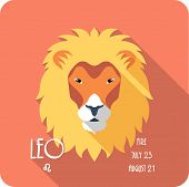 stock photo of leo  - Vector Zodiac sign Leo icon flat design - JPG