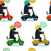 stock photo of cute dog  - Funny seamless pattern with cute Scottish terrier riding old school scooter - JPG