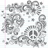 foto of peace-sign  - Peace and Love Back to School Sketchy Notebook Doodles with Peace Sign - JPG