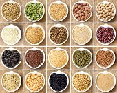 image of legume  - Collage of 20 legumes and cereals in bowls - JPG