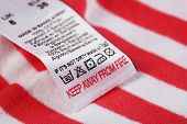 picture of laundry  - Label with laundry care symbols close - JPG