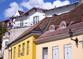 pic of red roof tile  - Coloured ancient buildings under the red tiled roof in Old Tallinn - JPG