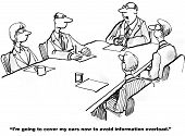 stock photo of leader  - Cartoon of businesspeople at a meeting and the leader is going to cover his ears to avoid information overload - JPG