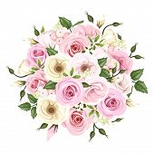 pic of english rose  - Vector bouquet of pink and white roses and lisianthus flowers and green leaves - JPG