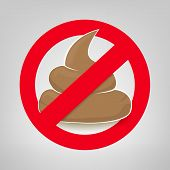stock photo of excrement  - Clean up after your pet vector sign with crossed poo - JPG