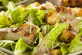 stock photo of chicken  - Healthy Grilled Chicken Caesar Salad with Cheese and Croutons - JPG