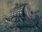 picture of galleon  - relief wooden galleon with sails to the wind - JPG