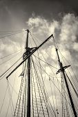 picture of mast  - Low angle take of sailboat masts and rigging - JPG