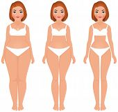 image of body fat  - Stock vector cartoon illustration fat to slim women weight loss transformation front - JPG