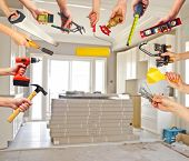 image of tool  - Hands with construction tools - JPG