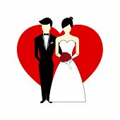 pic of soulmate  - Vector Bride and Groom with Heart as background Illustration - JPG