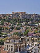 stock photo of akropolis  - Acropolis and Plaka famous neighborhood Athens Greece - JPG