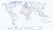 stock photo of political map  - The political map of the world painted on a piece of school notebook paper - JPG