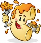image of noodles  - A happy macaroni noodle cartoon character covered in melted cheese and eating a bowl of mac and cheese with a big fork - JPG