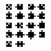 stock photo of jigsaw  - Jigsaw puzzle blank parts constructor - JPG