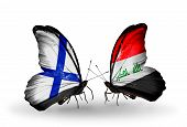 picture of iraq  - Two butterflies with flags on wings as symbol of relations Finland and Iraq - JPG