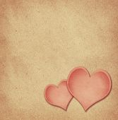 stock photo of paper craft  - Craft paper hearts on craft paper background for Valentine - JPG