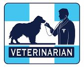 foto of vet  - Veterinary With Dog Graphic is an illustration of a design for a vet or veterinarian - JPG