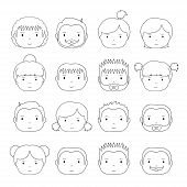 pic of avatar  - Set of line art silhouette office people icons - JPG