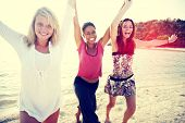 stock photo of bff  - Women Fun Beach Girls Power Celebration Concept - JPG