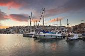 picture of marina  - Sunset in Mikrolimano marina in Athens - JPG