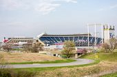 stock photo of bleachers  - at a football and baseball sports stadium - JPG