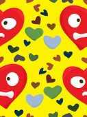 pic of heartbreaking  - Seamless pattern of distraught red hearts over yellow - JPG