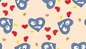 image of heartbreaking  - Topsy turvy miserable blue hearts in seamless pattern - JPG