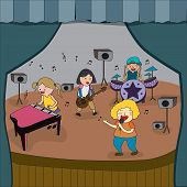 foto of pop star  - Cartoon children band is playing concert on stage in school fair create by vector - JPG