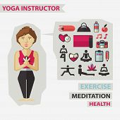 image of yoga instructor  - Yoga instructor with infographic elements on a light background - JPG
