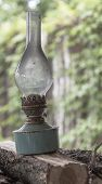 pic of kerosene lamp  - Old antique rusty kerosene lamp standing on chopping wood on background of a white wall with climbing plants - JPG