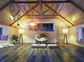 picture of attic  - beautiful modern attic interior with hanging sofa - JPG